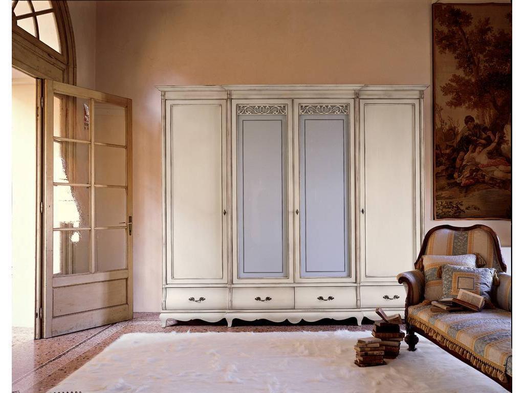 5103726 шкаф 4-х дверный madeira cavio md435 белый лак, сере.